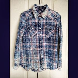 Plaid/denim washed design button down long sleeves